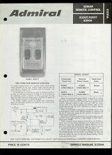 Rare Orig Factory Admiral R200T R201T R200R TV Remote Control Service Manual