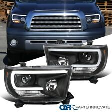 For Toyota 07-13 Tundra 08-17 Sequoia Matte Black Projector Headlight w/ LED DRL