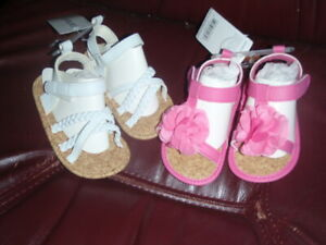 Baby Girl Shoes Carters  Sandals Lot Pink & White for 9-12 MNTHS 1 Pair of Each