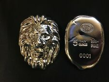"5oz YPS ""Lion"" 999+ fine silver bullion bar ""Yeager's Poured Silver"""
