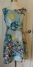 J. Crew 2 Blue Green Pink Aquatic Floral Sleeveless Lined Silk Dress