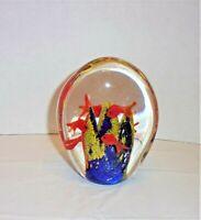 Multi-Colored Murano Art Glass Fish Tank Aquarium  Paperweight Unusual Design