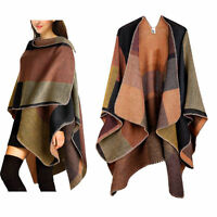 WOMENS LADIES CHECKED KNITTED WINTER TARTAN CAPE STYLISHED PONCHO ONE SIZE