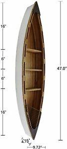 "Nautical Wood Boat Shelf Wall Decor Hanging Row Boat Shelf Display 47""H"