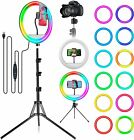 """12"""" Selfie Ring Light, RGB Lights with Tripod Stand & Cell Phone Black"""