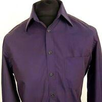Hugo Boss Mens Formal Shirt 38 15 (MEDIUM) Long Sleeve Purple Regular Fit Cotton