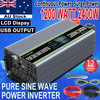 Car Solar Power Inverter Pure Sine Wave 1200W 2000W 12V to 240V LCD Converter AU