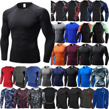 Men Compression T Shirt Base Layer Long Sleeve Thermal Gym Sports Fitness Tops