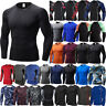 Mens Running Gym Base Layer Compression Long Sleeve Tight Quick Dry Top T-shirt