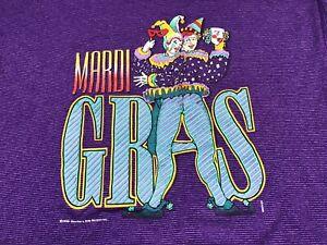 Vintage Mardi Gras T-Shirt 1988 Purple XL Masquerade French Quarter Short Sleeve