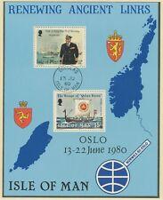 GROSSBRITANNIEN INSEL MAN 1980 Block Besuch von König Olav V. im August 1979 FDI