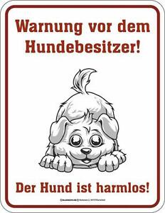 Blechschild Warnung vor dem Hundebesitzer..... 17x22cm NEU Hund Hunde