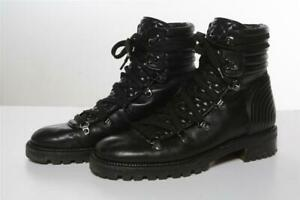 CHRISTIAN LOUBOUTIN Mad Lace-Up Black Nappa Leather Combat Boot Quilted 40.5