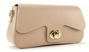 PINK leather HANDBAG Italian ladies womens clutch shoulder bag detachable strap