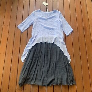 New Anne Kelly Size 10 100% Linen Shift Dress Colour Block Blue Navy Casual