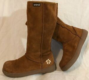Animal Brown Mid Calf Suede Lovely Boots Size 4/37 (522QQ)
