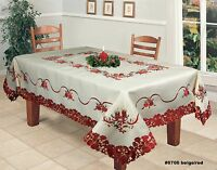 Holiday Christmas Poinsettia Bell Ornament Candle Tablecloth & Napkins Beige Red