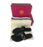 Tory Burch Marsden Logo Buckle Thong Sandals Black Womens Size 6 Dust Bag & Box
