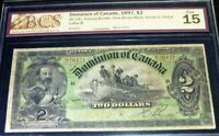 1897 $2 ,DOMINION OF CANADA .LARGE BANKNOTE ,PRINCE OF WALES