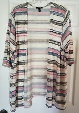 Torrid Striped Cardigan size 4 Sweater Open Front 3/4 Sleeves Cream Pink blue