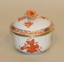 Herend Hungary Chinese Bouquet Rust Orange Sugar Bowl Dish with Rose Lid 1663