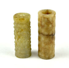 PAIR OF CHINESE EASTERN ZHOU DYNASTY JADE BEADS