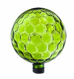Evergreen Lime Green Hexagon Glass Gazing Ball - 10 inch Diameter #33R650