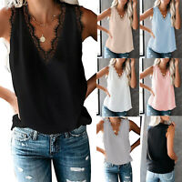 Women's Summer V Neck Lace Trim Casual loose Tank Tops Sleeveless Blouses Shirts