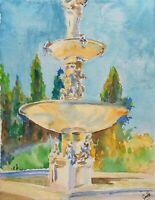 """Villa fountain"" ORIGINAL signed watercolor painting Rome garden fountain Italy"