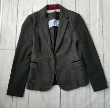 Zara Size M Wool Blend Jacket Blazer Elbow Patch Country