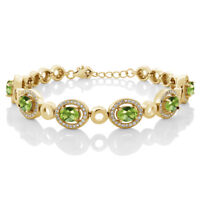 7.92 Ct Oval Checkerboard Green Peridot 18K Yellow Gold Plated Silver Bracelet