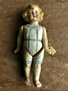 """Antique All Bisque 7.5"""" Doll with Molded Clothes Bare Feet"""