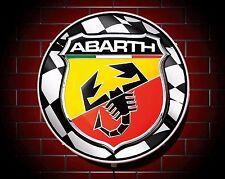 ABARTH LED 600mm ILLUMINATED GARAGE WALL LIGHT BADGE SIGN LOGO MAN CAVE GIFT