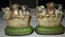 ANTIQUE CAST IRON HUBLEY PA USA DOG IN BASKET ART STATUE SCULPTURE BOOKENDS SIGN