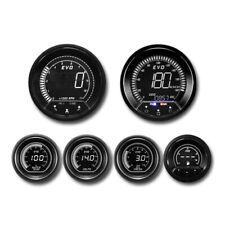 White Green LCD Display Digital 6 Auto Performance Gauge KMH Celsius BAR Set