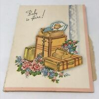 Vintage 1954 Greetings Card Baby Is Here Announcement Ephemera Paper