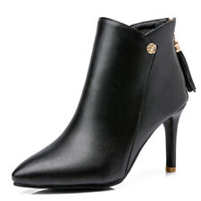 Women's Ankle Booties Leather Pointed Toe Zip High Heel Winter Boots Shoes US 6
