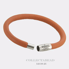 """Authentic Endless Stainless Steel Coral Single Leather Bracelet 7.0"""" 12110-18"""