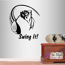 Vinyl Decal Swing It Golf Player Man Sports Golf Course Wall  Decor Sticker 1