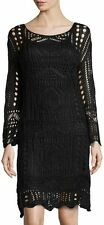 New FREE PEOPLE Black Crochet Dress Tunic Long Sleeve $168 BOHO Festival Size L