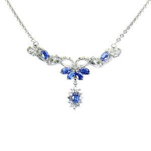 Unheated Marquise Kyanite White Topaz Gems 925 Sterling Silver Necklace 19.5