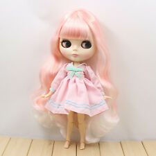 """12"""" Neo Blythe Doll  Joint Body Mix Pink& White Hair Nude Doll from Factory"""