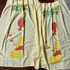 """Vintage Sears Winnie The Pooh Curtains 2 Curtain Panels 24""""X48"""" Pleated Yellow"""