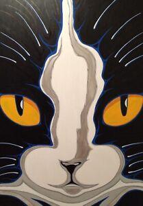 "Original Pop Art Black & White Cat Painting,47x31"", Acrylic On Canvas"