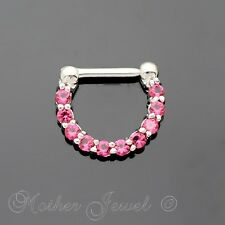HOT PINK CZ SILVER SURGICAL STEEL SEPTUM LIP NOSE HINGED HOOP CLICKER EARRING