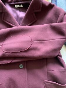 Women's Miu miu wool jacket in wine, fully lined. Made in Italy. Size: 46