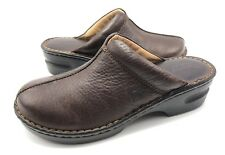 Born Womens 9M Brown Leather Split Toe Slip On Mules Clogs Casual Shoes