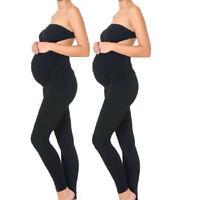 2PCS Women Maternity Leggings Seamless Yoga Pants Stretch Pregnancy Trousers Set