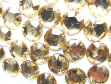 120 Pale Gold Faceted Beads Acrylic Rhinestones/Gems 12 mm 2-hole Stitch On