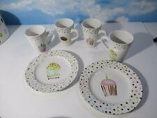 Jennifer Sosik Mugs Oneida Cupcake 4 Mugs 2 Dessert Plates Stoneware Coffee